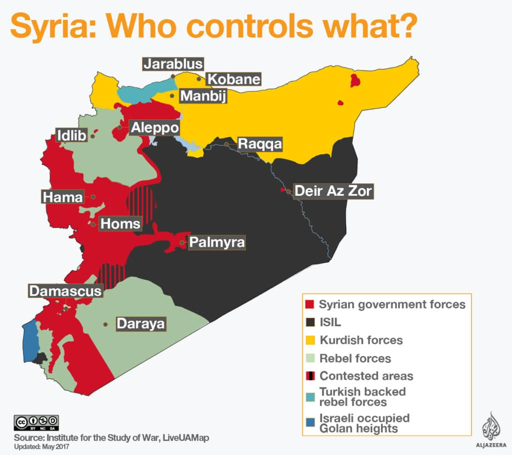 mappa siria chi controlla cosa