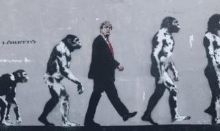 murale Trump errore evoluzione specie umana