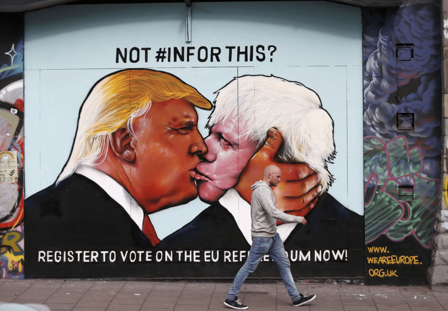 Trump Johnson kiss in Bristol. Credit- Reuters