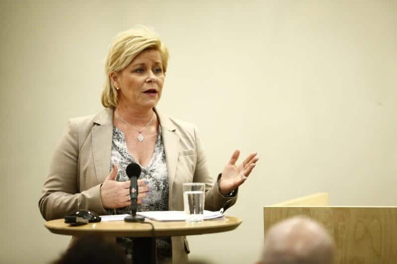 Siv Jensen, ministra delle Finanze norvegese e candidata nazionalista alle elezioni in Norvegia del settembre 2017