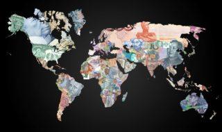 La mappa che mostra ogni paese del mondo rappresentato da una sua banconota