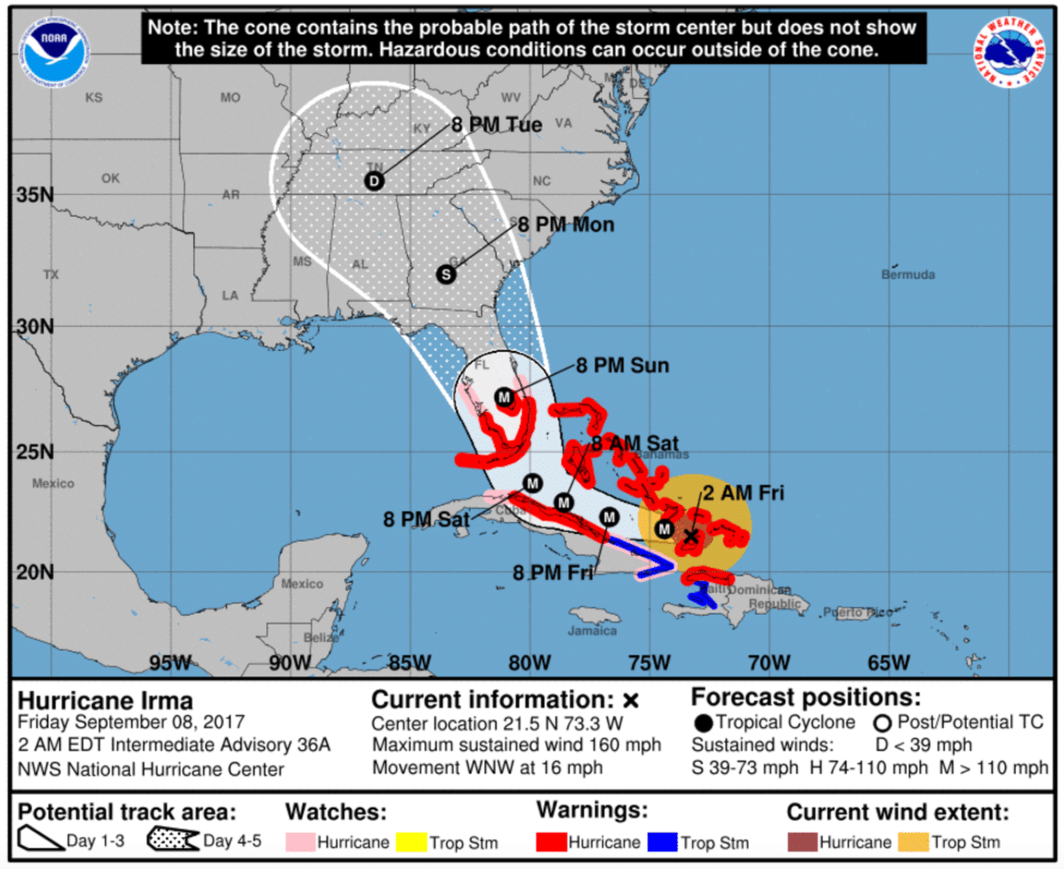 Il percorso previsto dal National Hurricane Center per l'uragano Irma