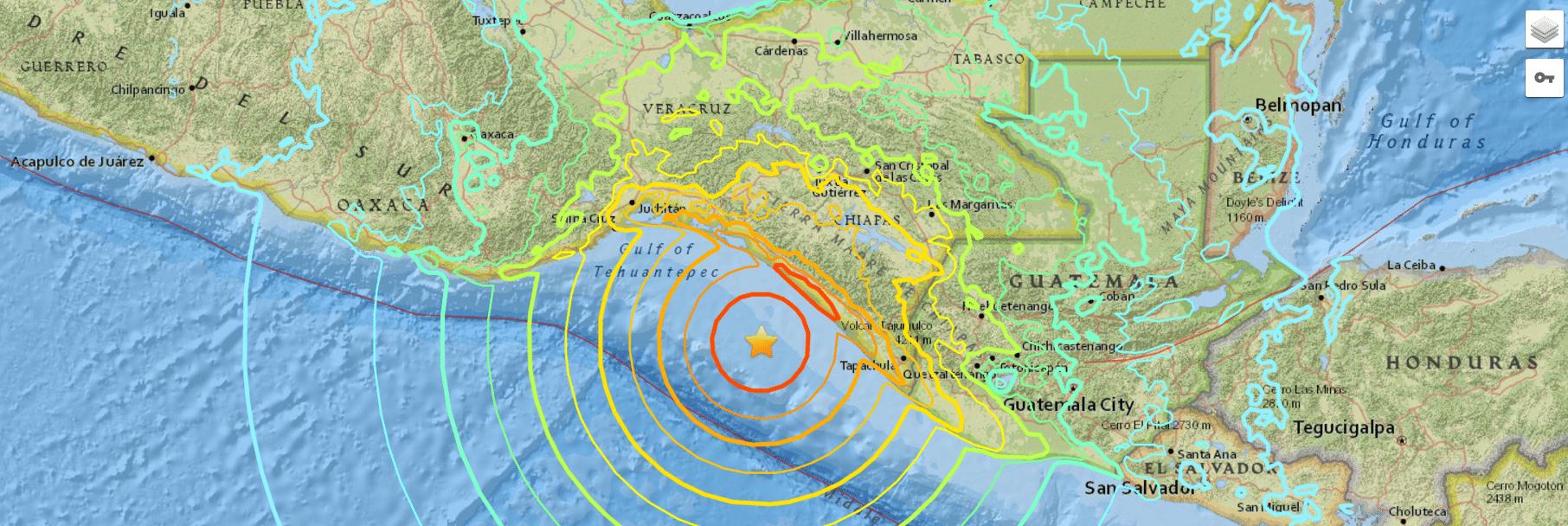 Le onde sismiche del terremoto che ha colpito il Messico