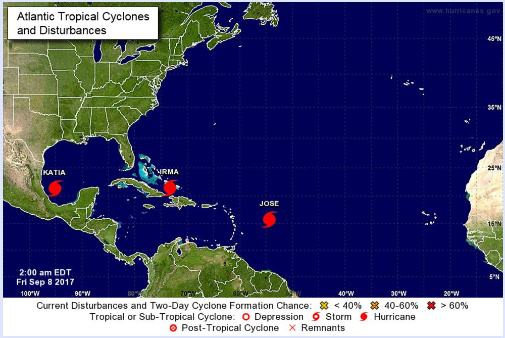 Gli uragani nell'Atlantico all'8 settembre 2017