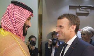Il presidente francese Macron e il principe saudita Mohammed bin Salman.