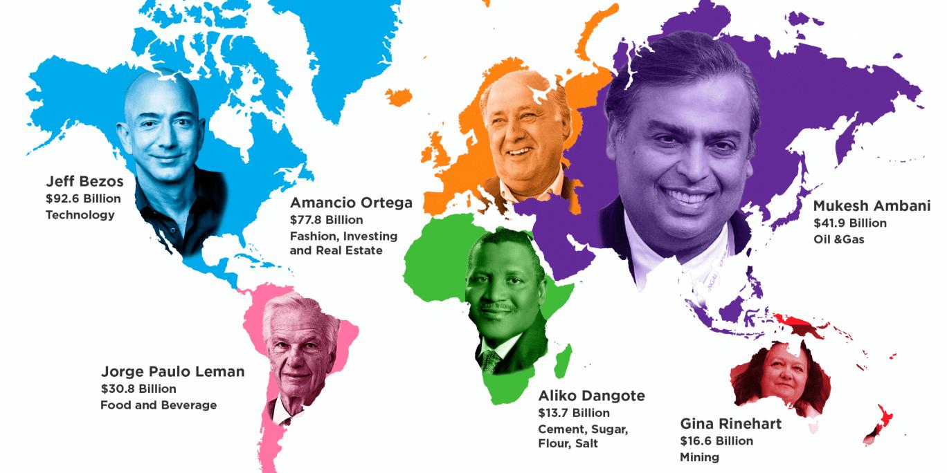 Chi sono le persone più ricche del mondo, paese per paese