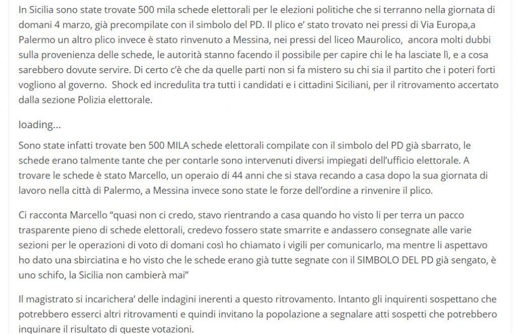 La bufala delle 500mila schede con il voto PD trovate in Sicilia