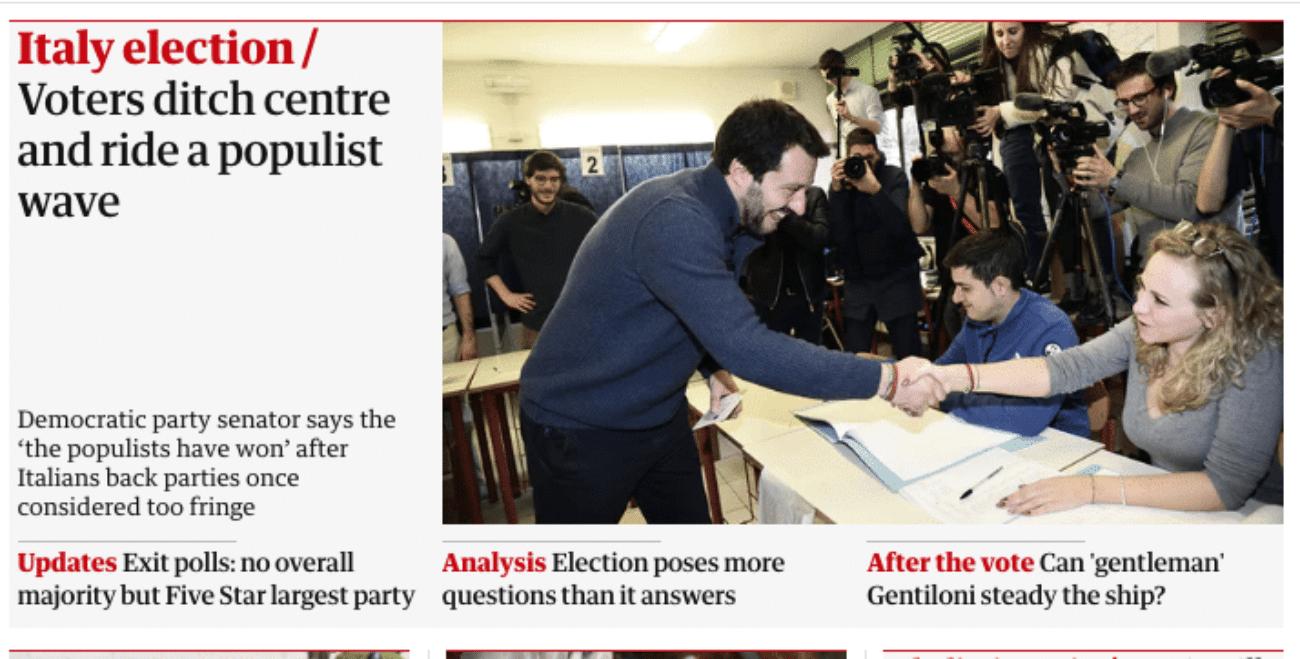 prime pagine elezioni 2018