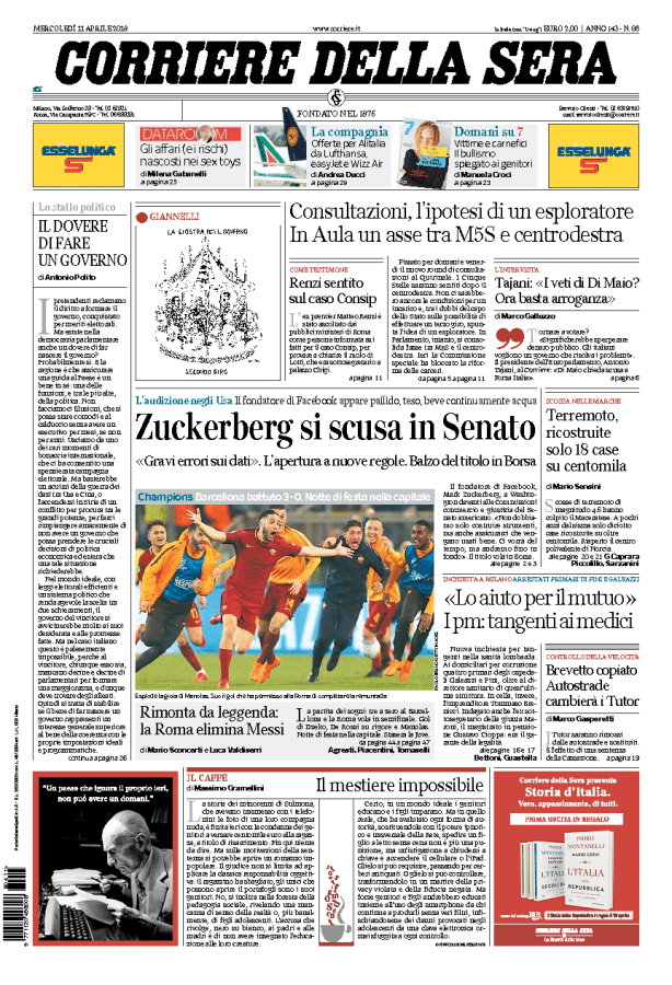 """eb458e7db Il Corriere della Sera dedica una foto centrale alla serata magica dello  stadio Olimpico. """"Rimonta da leggenda: la Roma elimina Messi"""", il titolo del  ..."""