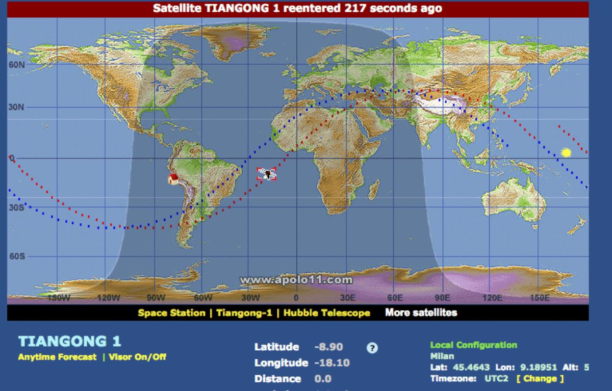 caduta stazione spaziale cinese diretta