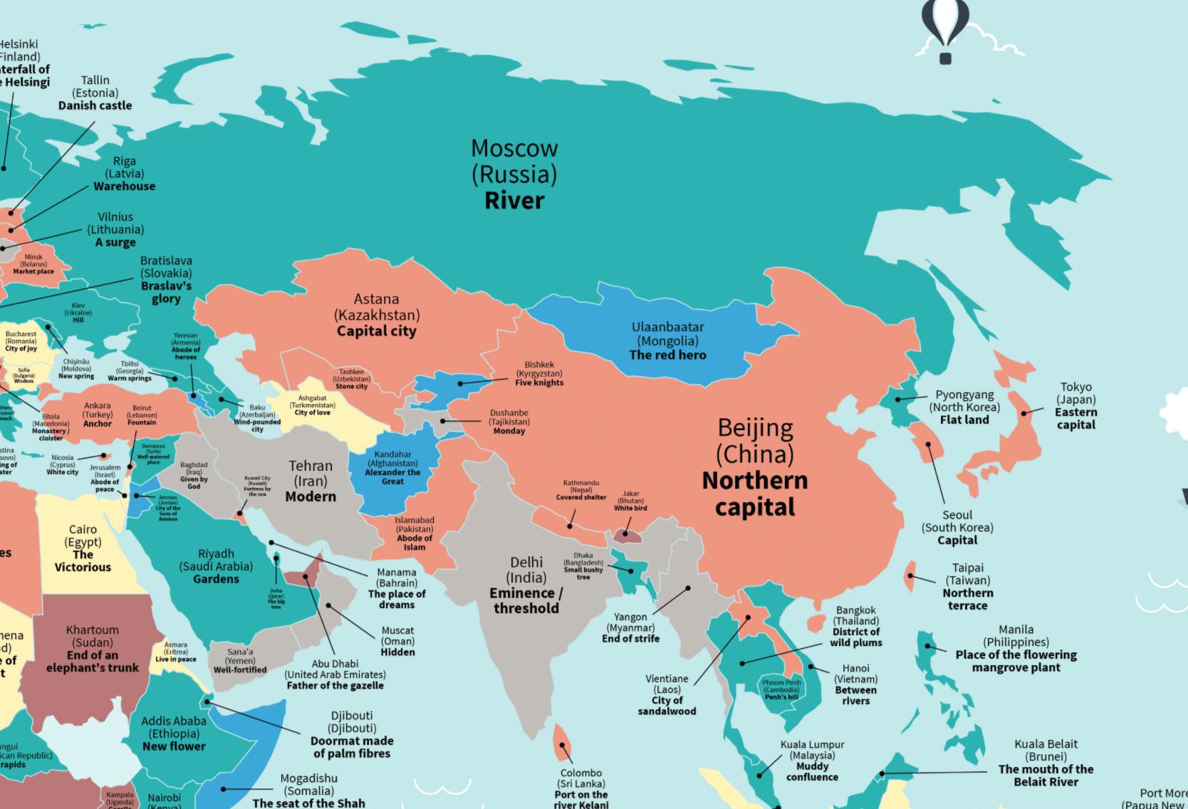 Cartina Capitali Del Mondo.Ecco La Mappa Che Spiega Il Significato Dei Nomi Di Molte Citta Del Mondo