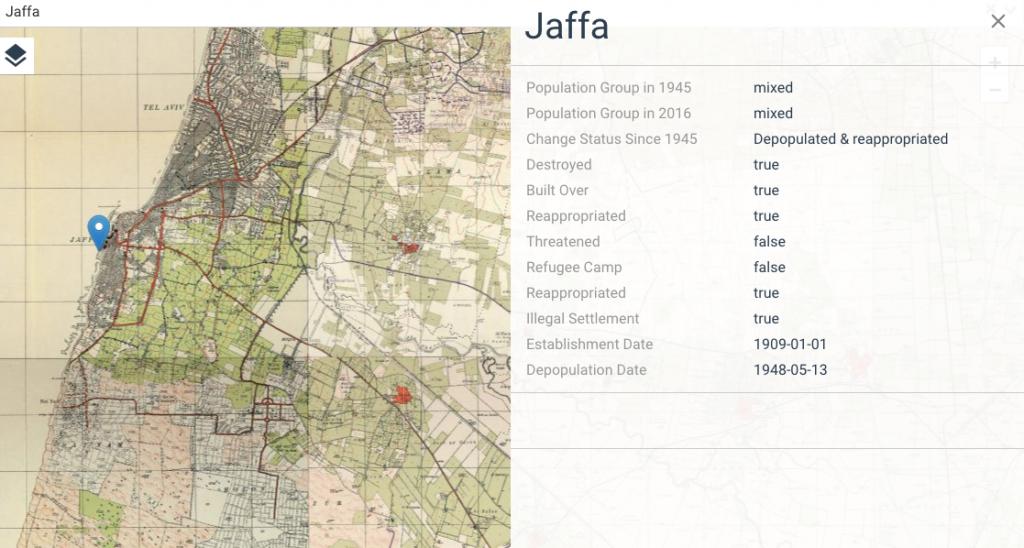 mappa palestina prima israele