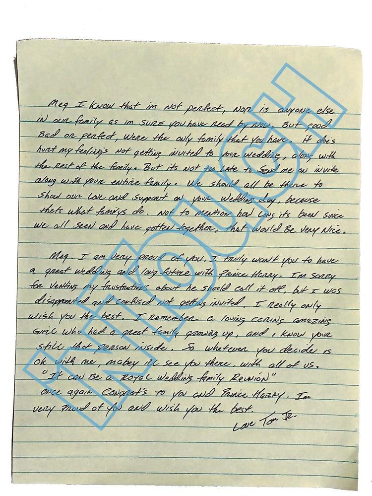 seconda lettera fratello meghan