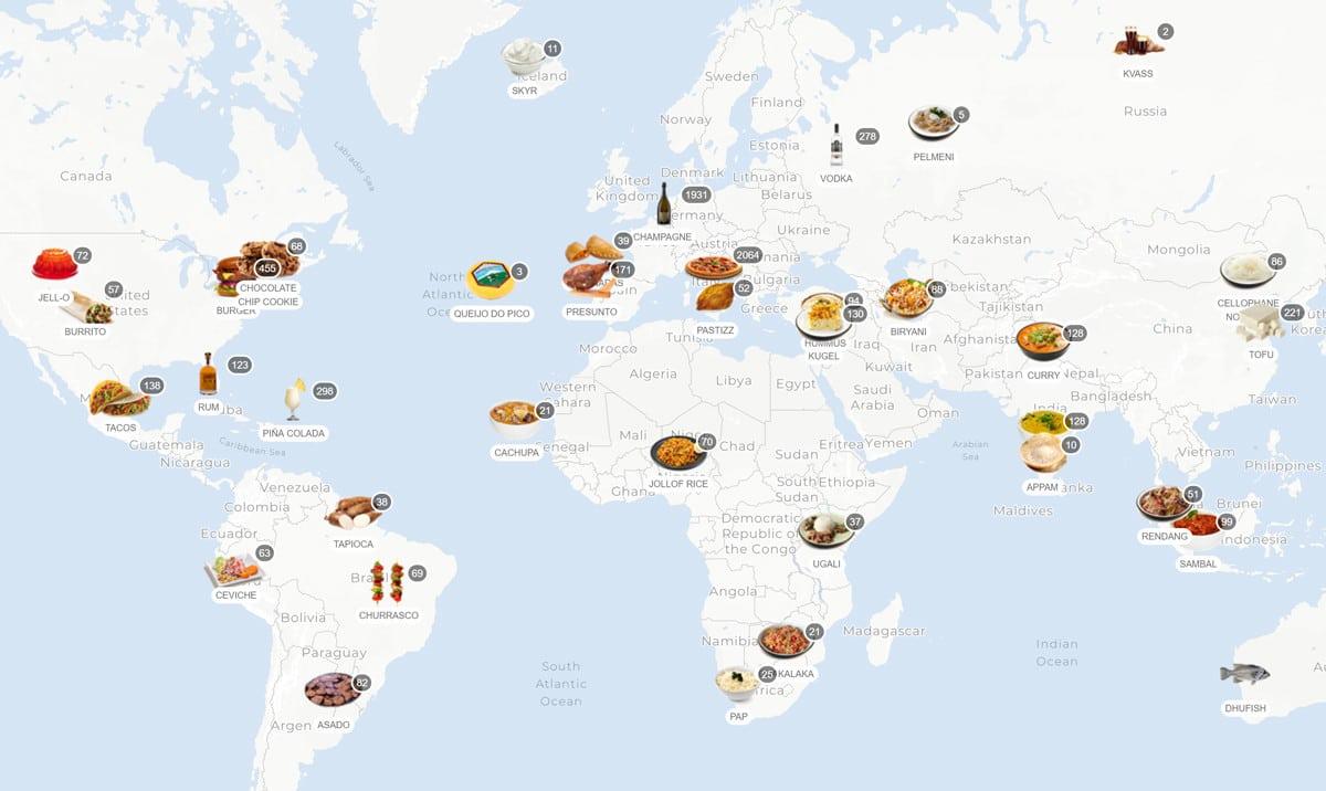 Cartina Mondiale Interattiva.La Mappa Interattiva Che Mostra I Piatti E Le Ricette Tipiche Di