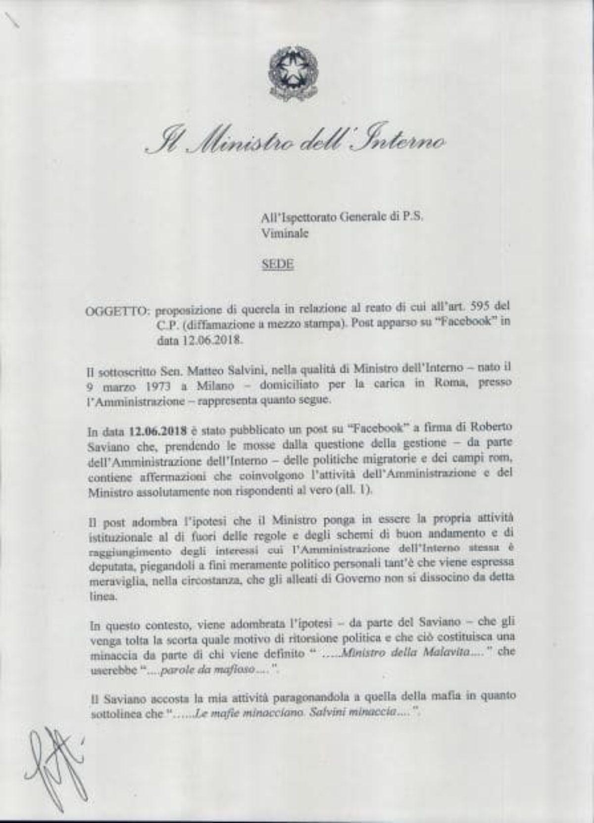 Salvini querela Saviano