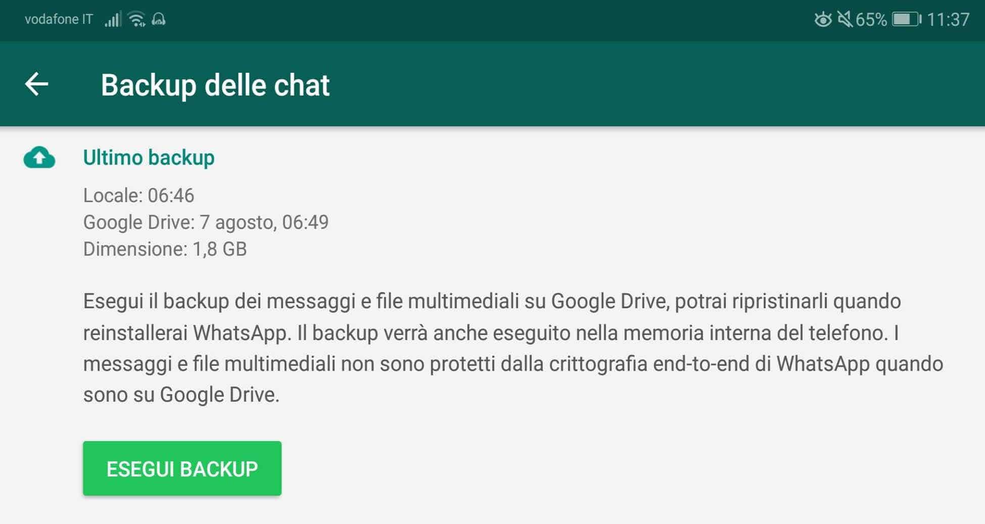 Schermata Backup di Whatsapp