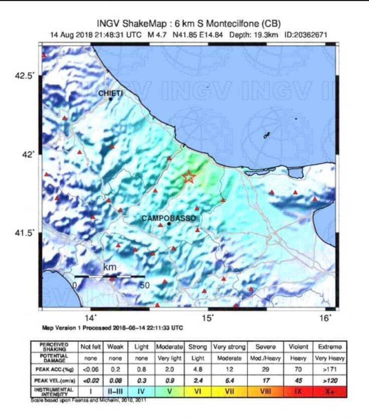 terremoto molise oggi