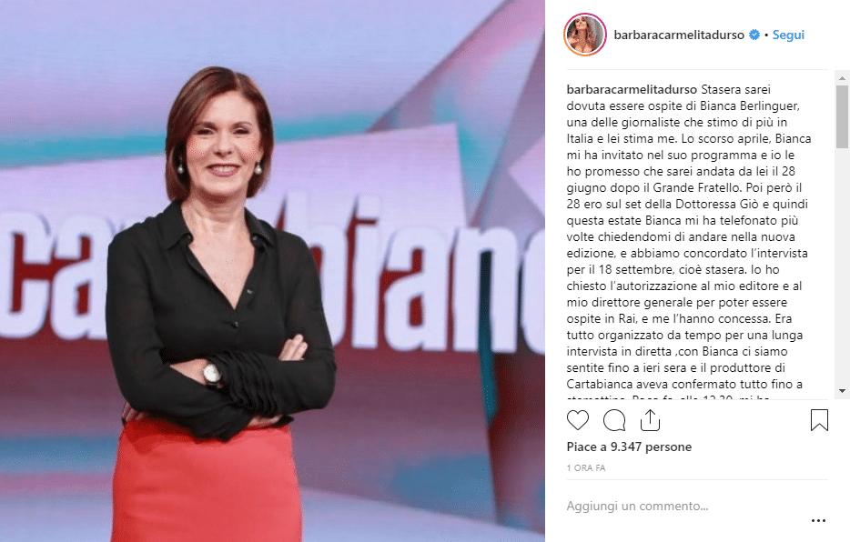Barbara durso intervista cartabianca