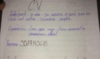 cv scritto a mano