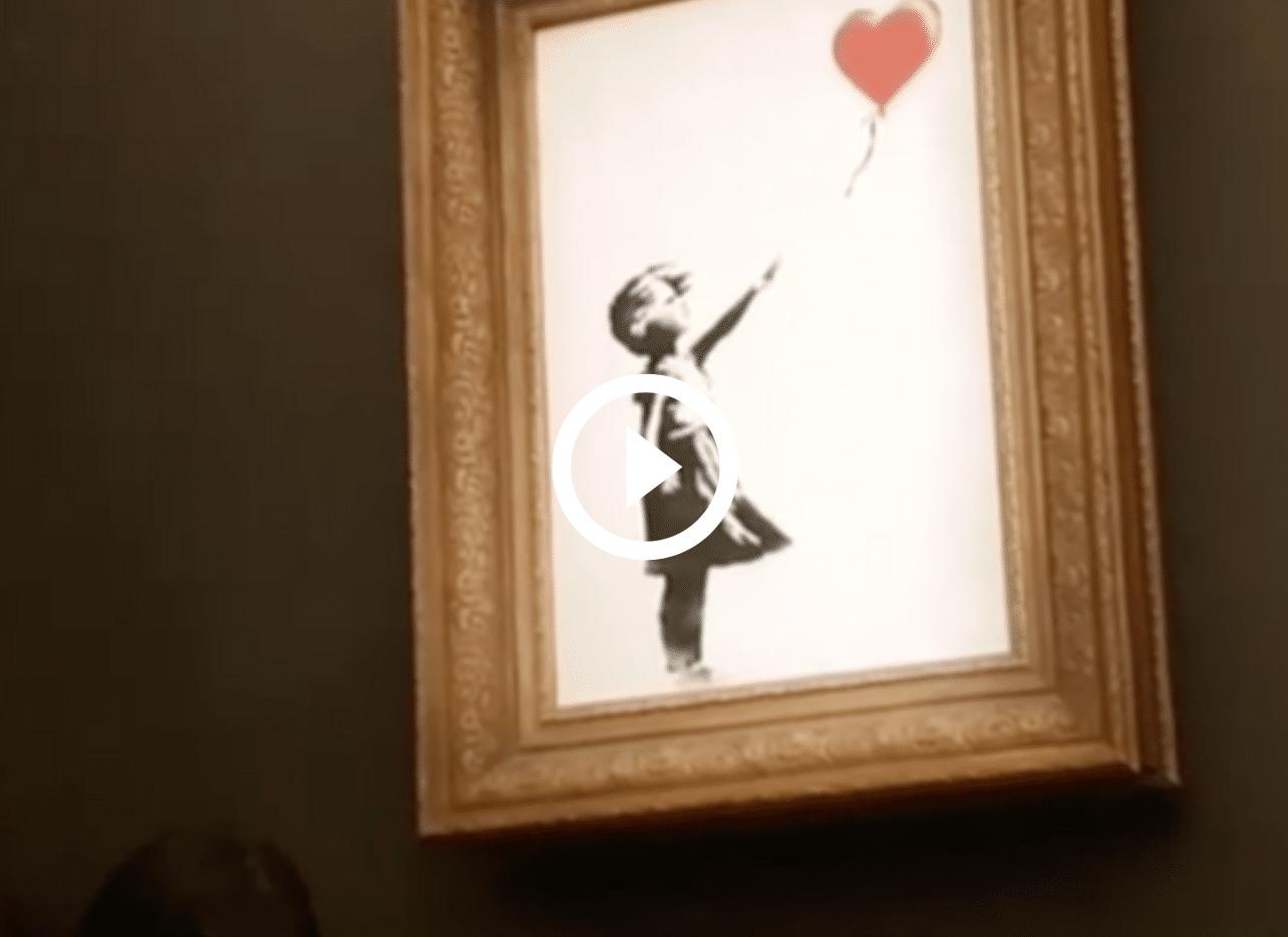 banksy video quadro autodistrutto