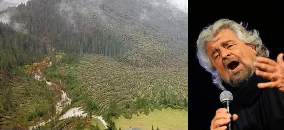 """Grillo: """"Non credete ai cambiamenti climatici. Alberi caduti sembrano Ikea"""""""