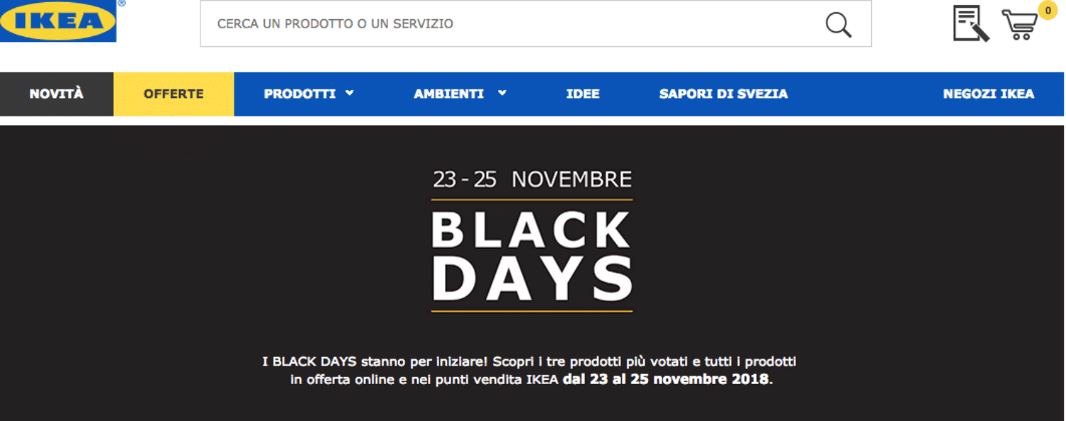 Ikea Black Friday 2018 Black Days 23 25 Novembre Offerte