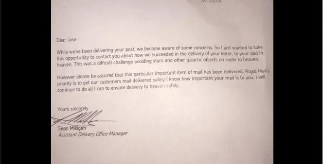 lettera padre morto risposta
