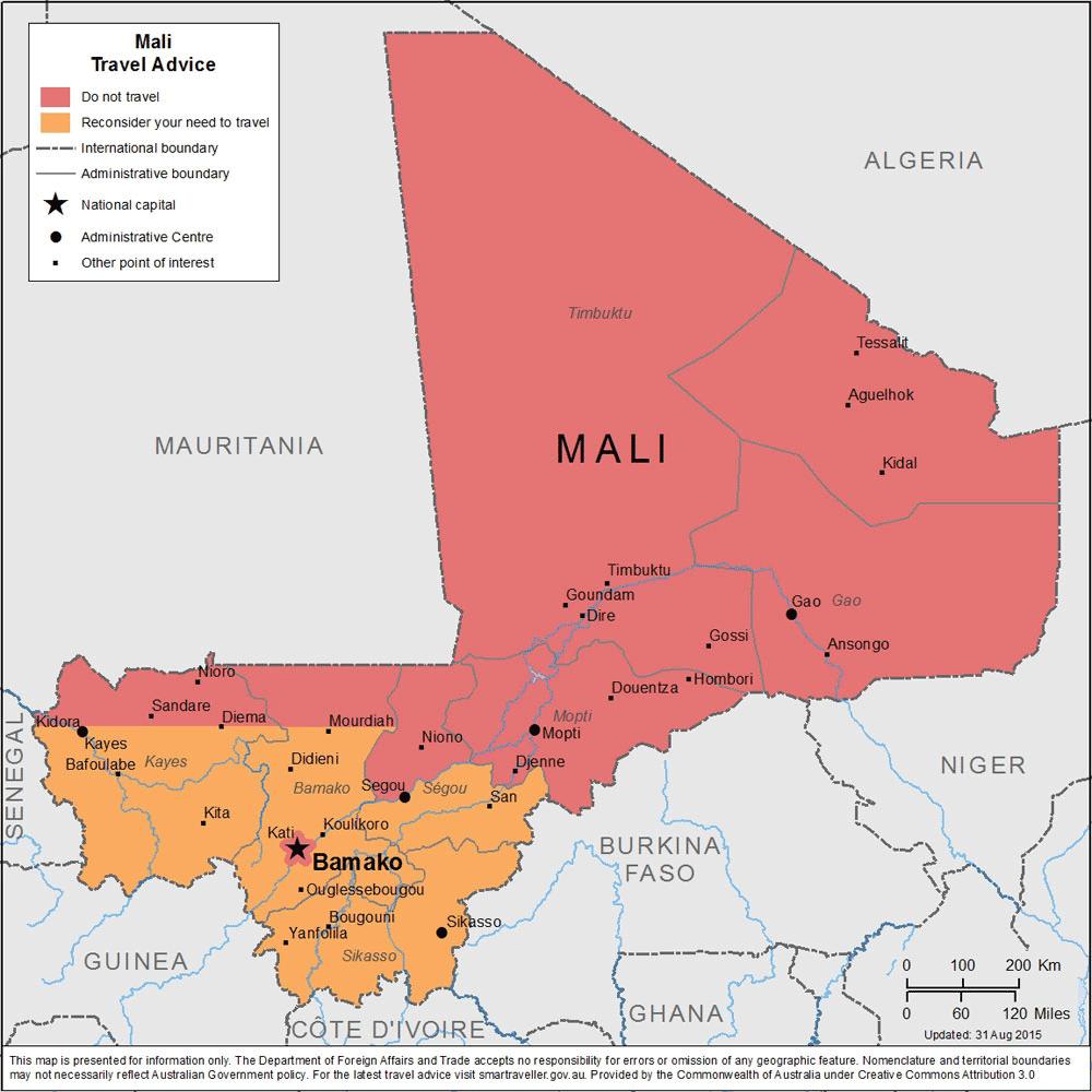Allerte di viaggio per il Mali