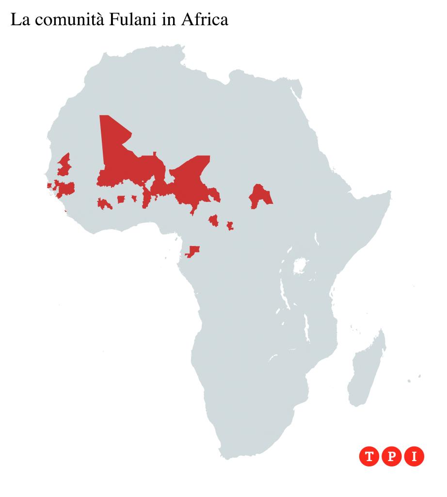 Distribuzione dei Fulani in Africa