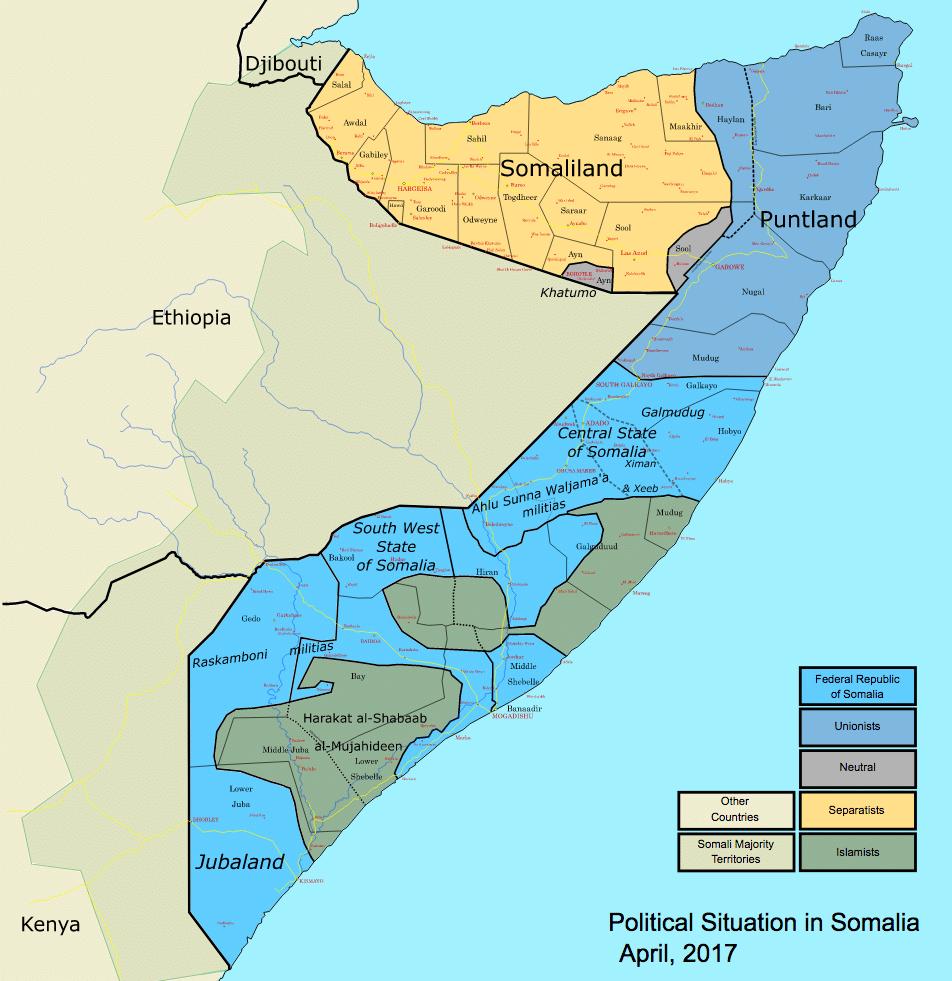 Mappa della Somalia, situazione nel 2017