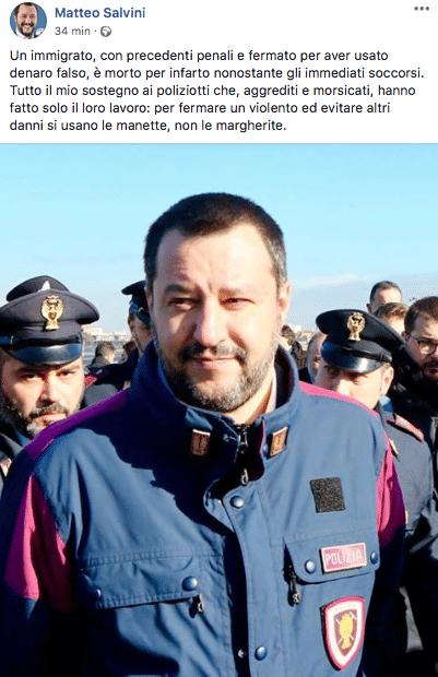 salvini divisa polizia morto Empoli