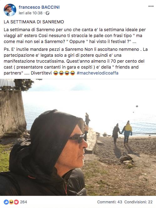Francesco Baccini contro Sanremo 2019