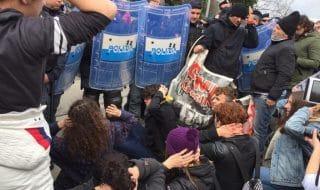 Polizia Studenti contro Di Maio