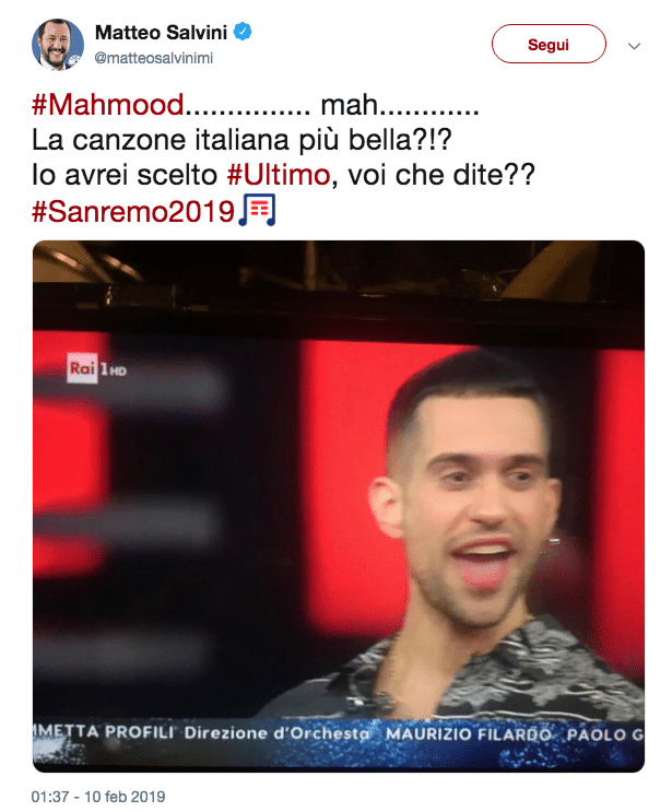 Sanremo, la vittoria di Mahmood e lo 'scontro' tra Salvini e Isoardi