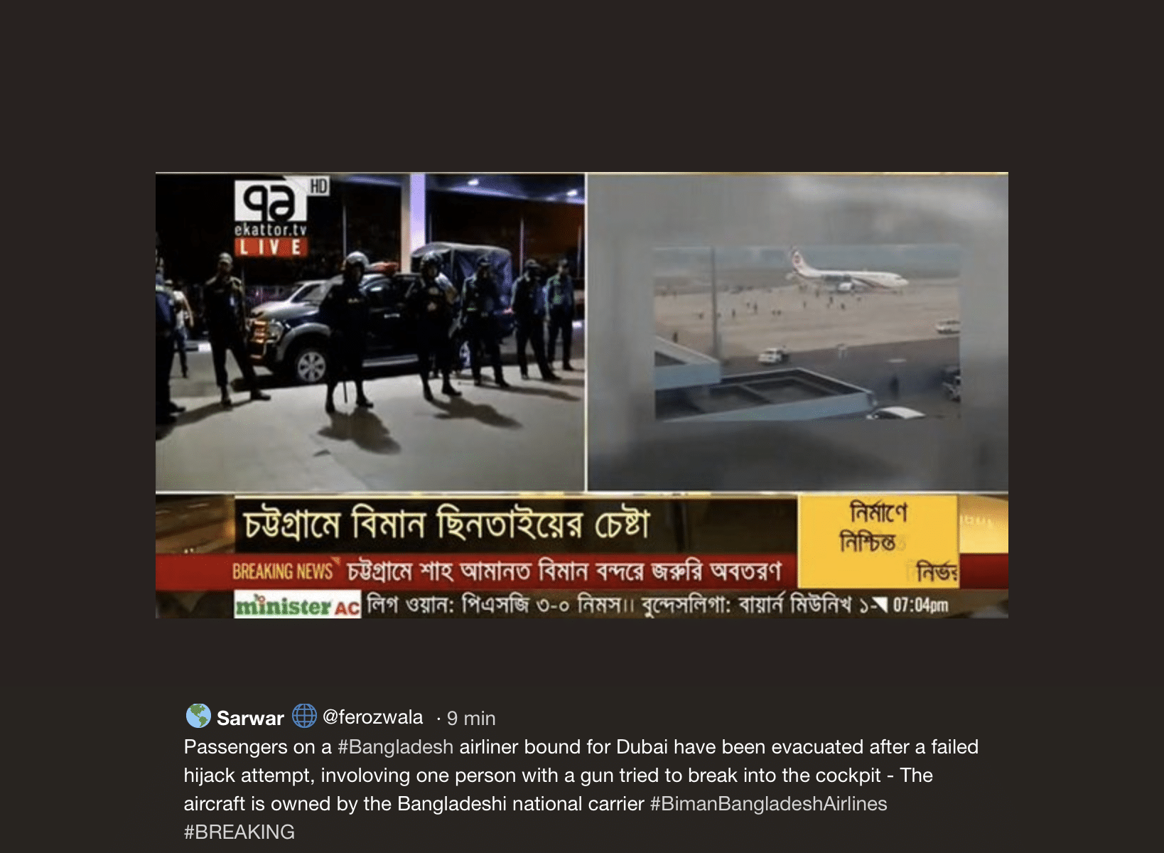 bangladesh aereo dirottato dubai