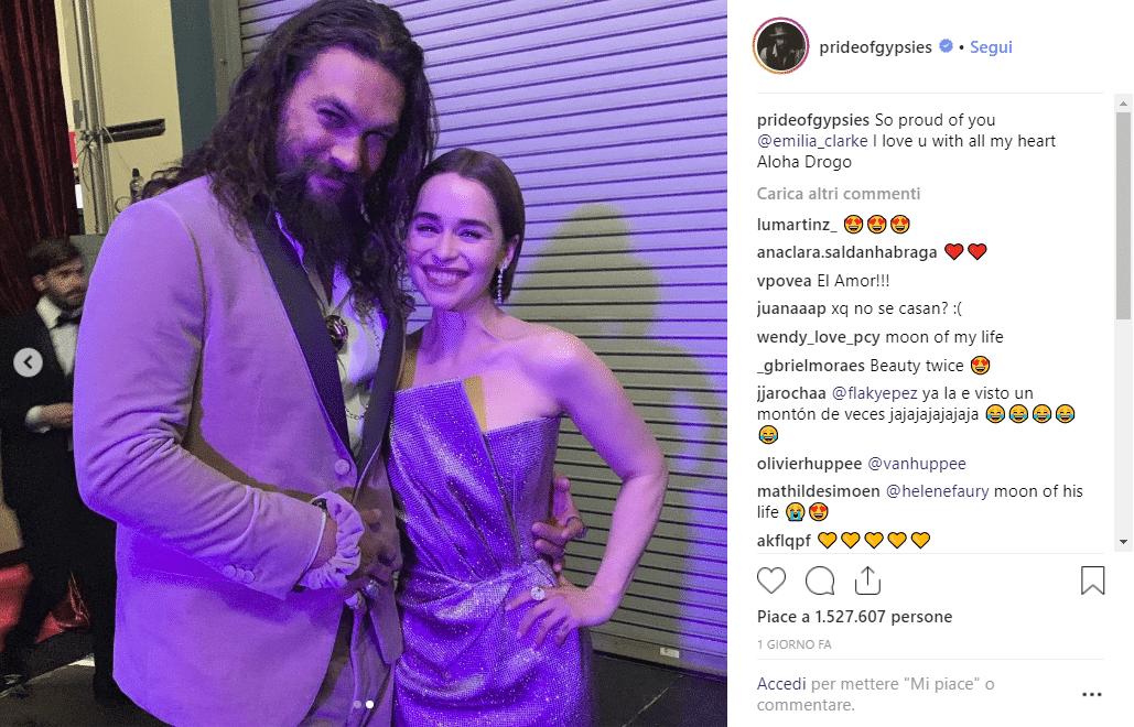 Emilia Clarke Jason Momoa Reunion