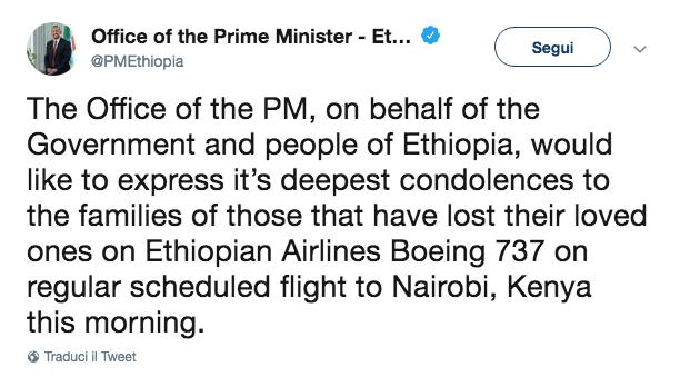 Etiopia incidente aereo
