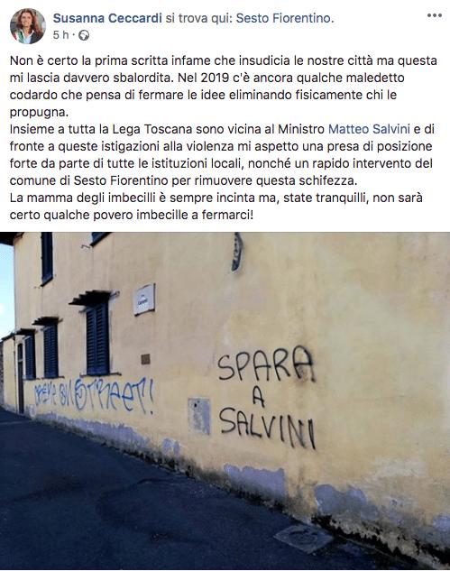 scritta contro salvini sesto fiorentino