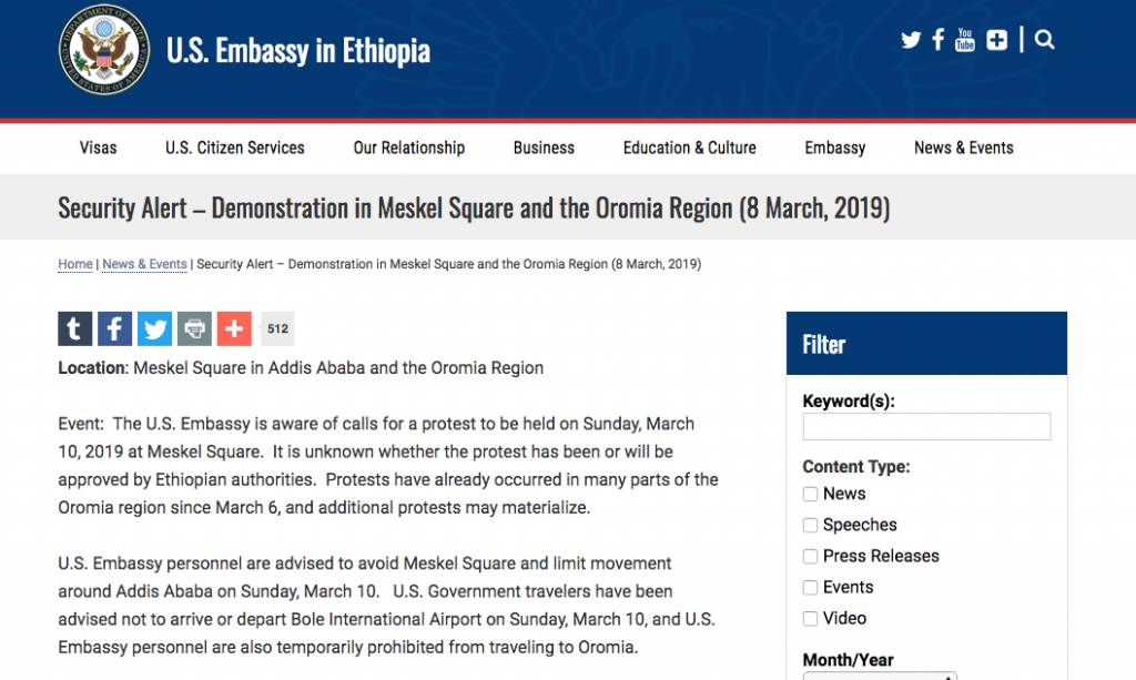 ambasciata usa etiopia allerta 10 marzo