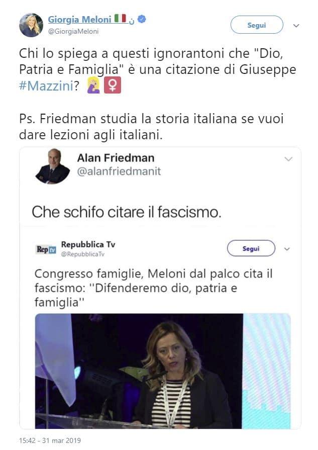 meloni risponde accuse fascismo