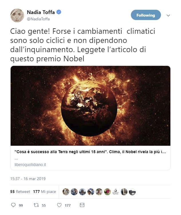 nadia toffa teoria cambiamento climatico
