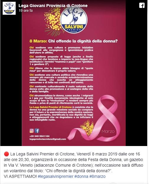 Volantino Lega Nord 8 marzo