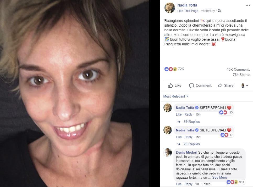 Nadia Toffa chemioterapia pasqua