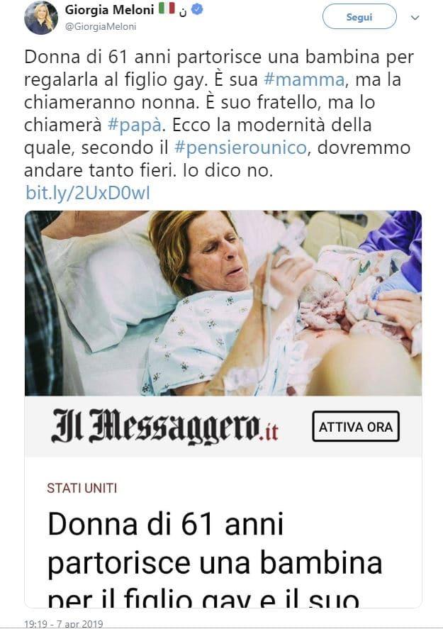 giorgia meloni commento donna partorisce figlio gay