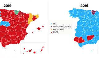 elezioni spagna mappa risultati 2016 2019