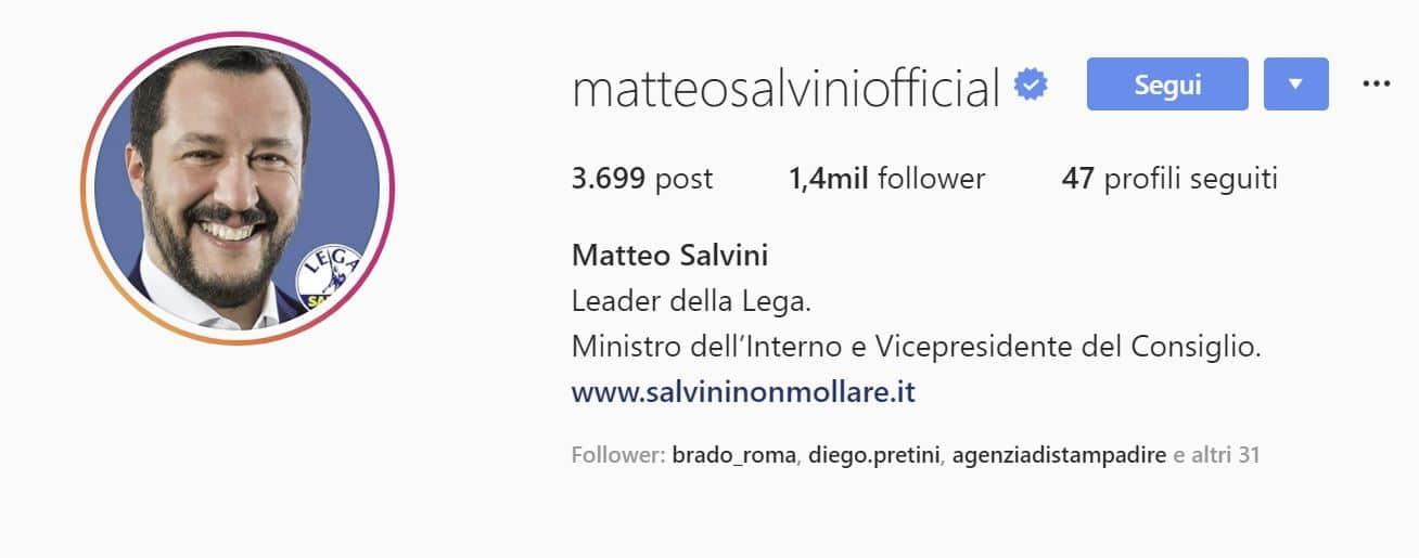 matteo salvini instagram chi segue