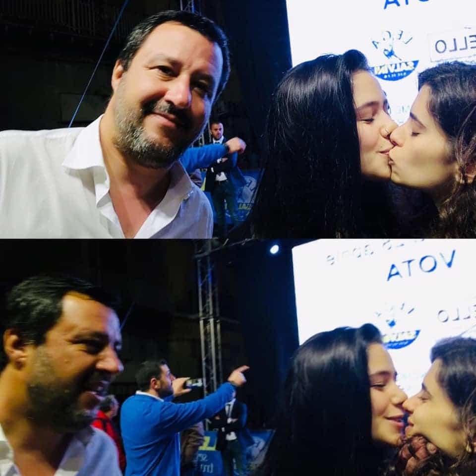 matteo salvini selfie bacio lesbiche