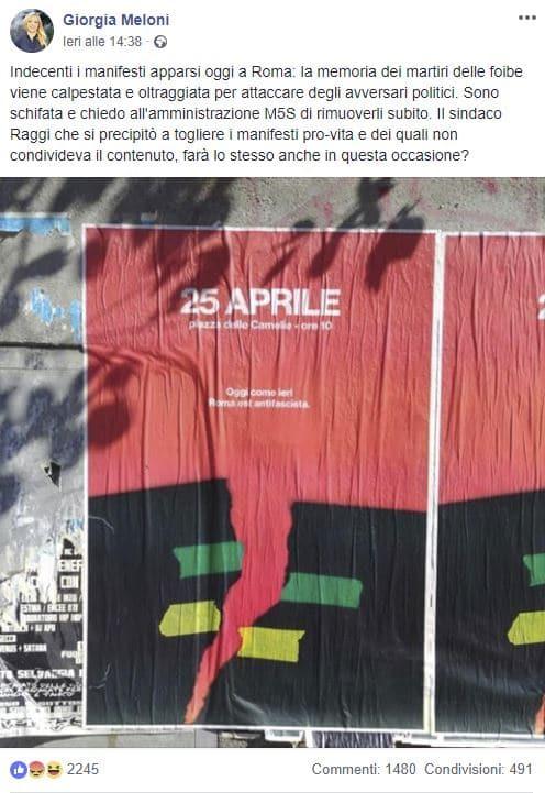 meloni manifesto 25 aprile