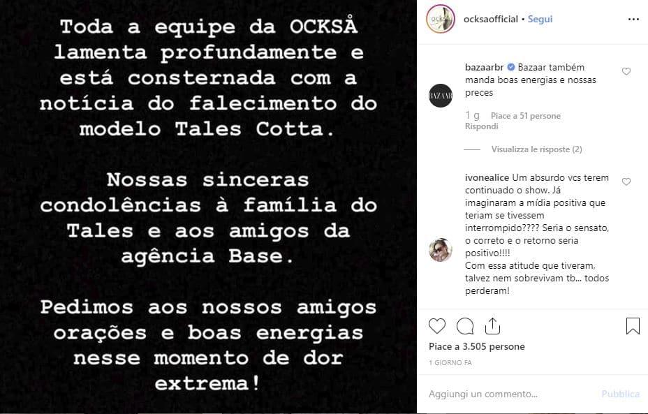 modello muore brasile