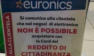 reddito di cittadinanza cartello euronics